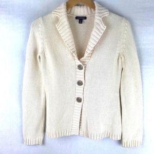Lands' End Cream Cotton V-Neck Cardigan Sweater XS